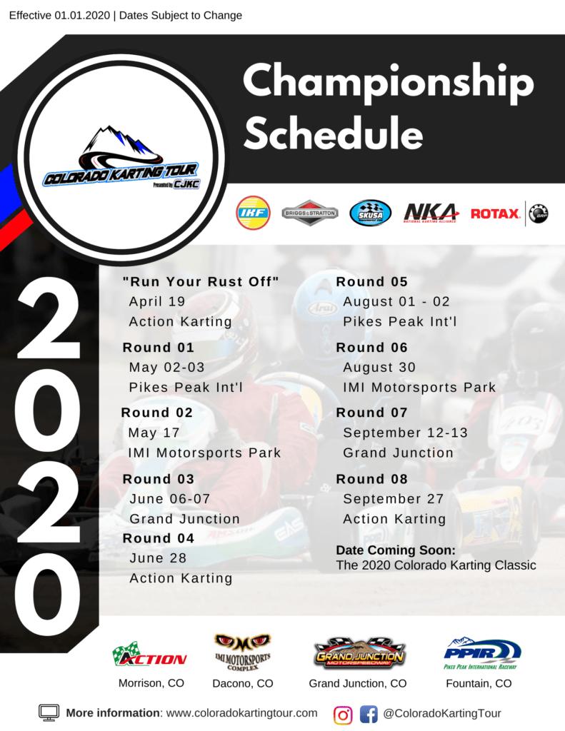 2020 Colorado Karting Tour Championship Series Schedule